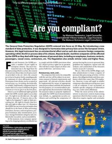 BTJ 3-4/18 - Are you compliant? The GDPR's impact on the maritime industry