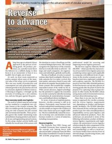 BTJ 2/18 - Reverse to advance. A new logistics model to support the advancement of circular economy