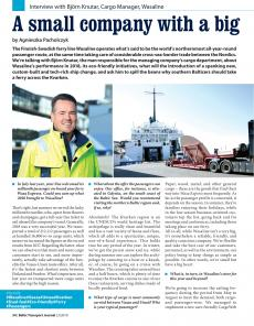 BTJ 2/19 - Maritime: A small company with a big (Baltic) heart. Interview with Björn Knutar, Cargo Manager, Wasaline