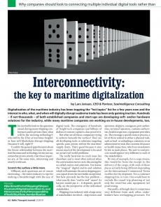 BTJ 2/19 - Technology: Interconnectivity: the key to maritime digitalization. Why companies should look to connecting multiple individual digital tools rather than search for an end-to-end solution