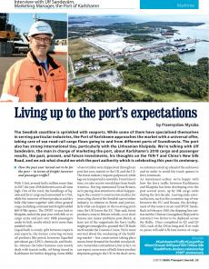 BTJ 2/19 - Maritime: Living up to the port's expectations. Interview with Ulf Sandevärn, Marketing Manager, the Port of Karlshamn