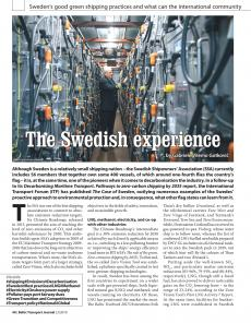 BTJ 2/19 - Sustainability: The Swedish experience. Sweden's good green shipping practices and what can the international community learn from them