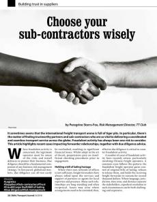 BTJ 6/18 - Choose your sub-contractors wisely. Building trust in suppliers