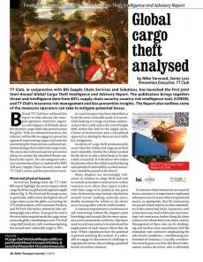 BTJ 1/19 - Global cargo theft analysed. Findings from the Semi-Annual Global Cargo Theft Intelligence and Advisory Report