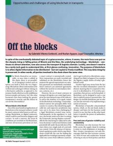 BTJ 6/18 - Off the blocks.Opportunities and challenges of using blockchain in transports