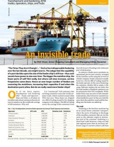 BTJ 3-4/18 - Report: An invisible trade. Transhipment and feedering 2018: trades, operators, ships, and hubs