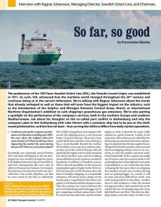 BTJ 3-4/18 - So far, so good. Interview with Ragnar Johansson, Managing Director, Swedish Orient Line, and Chairman Swedish Shipowners' Association